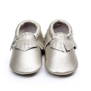 Other - Leather silver soft sole baby toddler moccasins